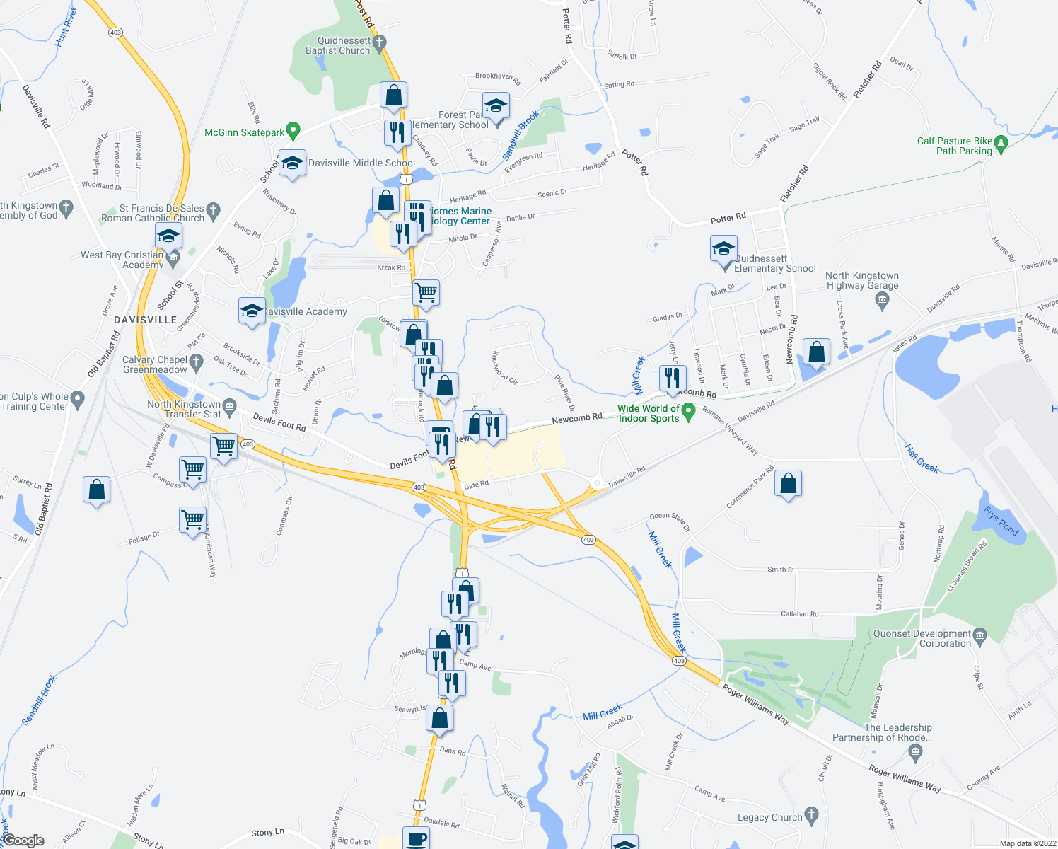 map of restaurants, bars, coffee shops, grocery stores, and more near 12 Fischer Drive in North Kingstown