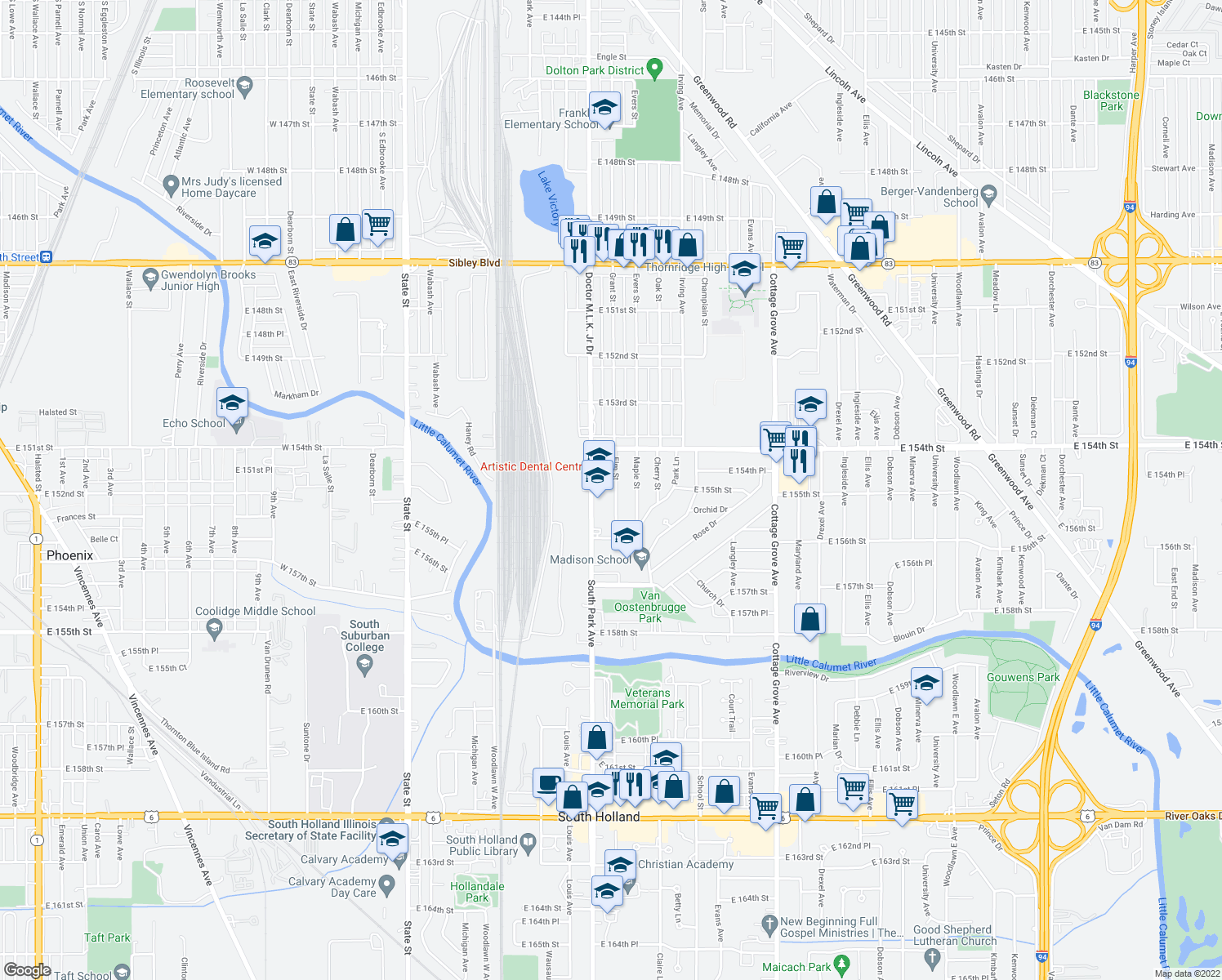 map of restaurants, bars, coffee shops, grocery stores, and more near 15450 Elm Street in South Holland