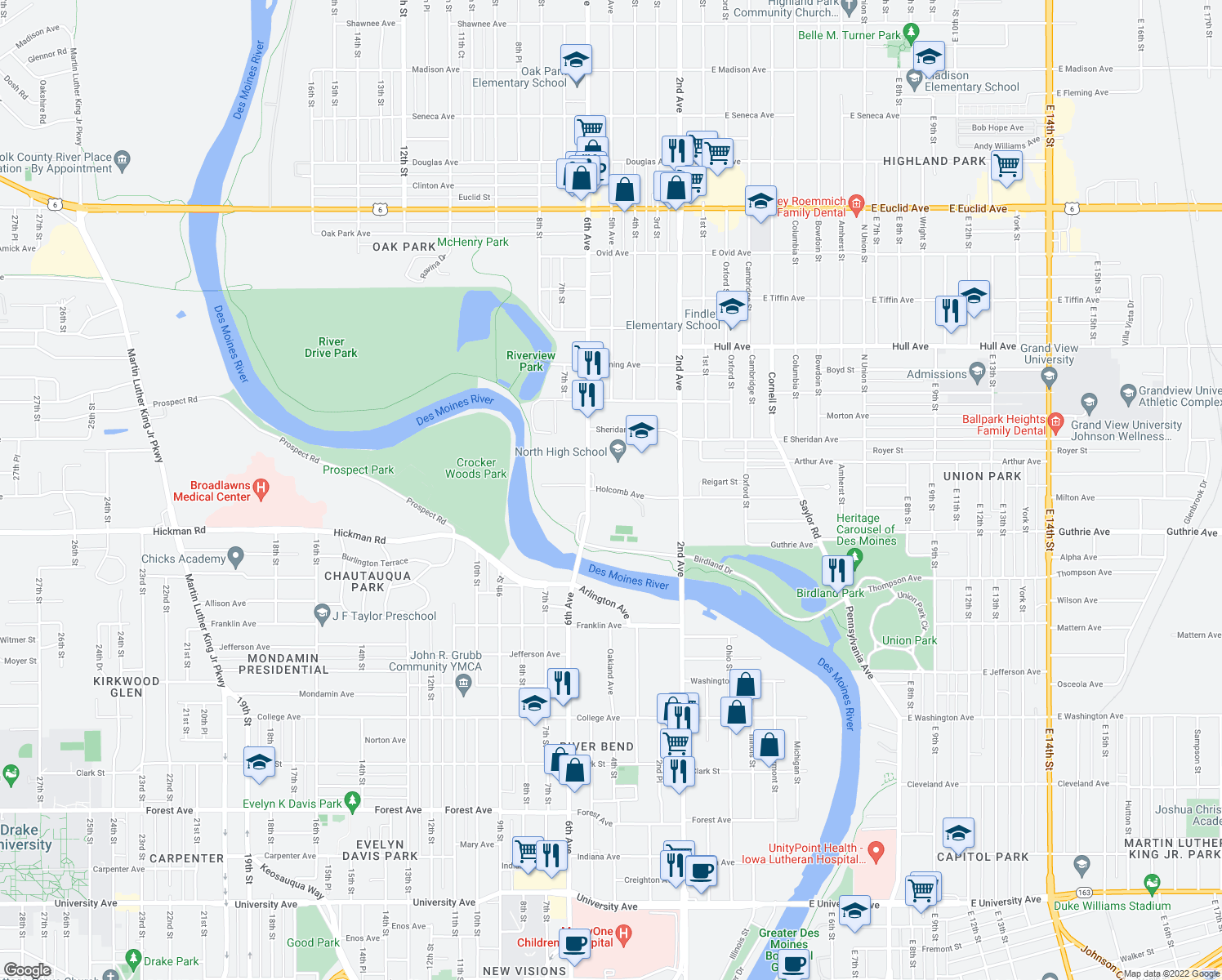 map of restaurants, bars, coffee shops, grocery stores, and more near 501 Holcomb Ave in Des Moines
