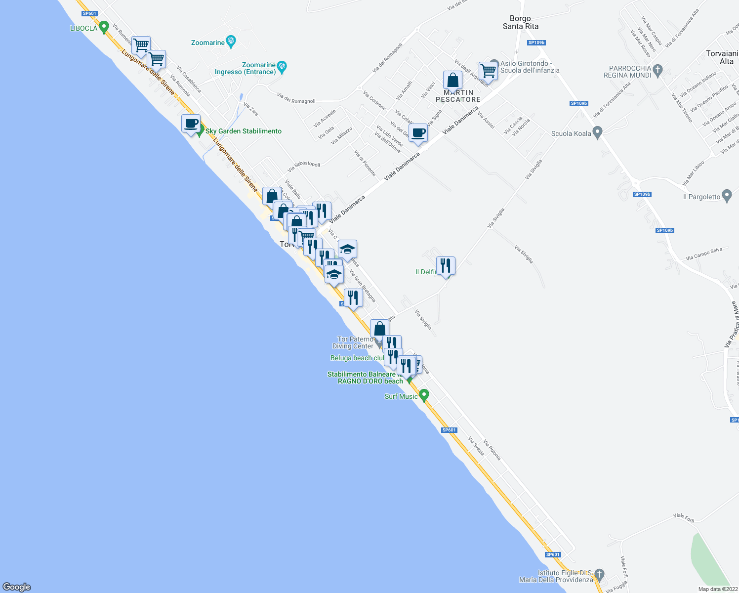map of restaurants, bars, coffee shops, grocery stores, and more near 94 Via Gran Bretagna in Torvaianica