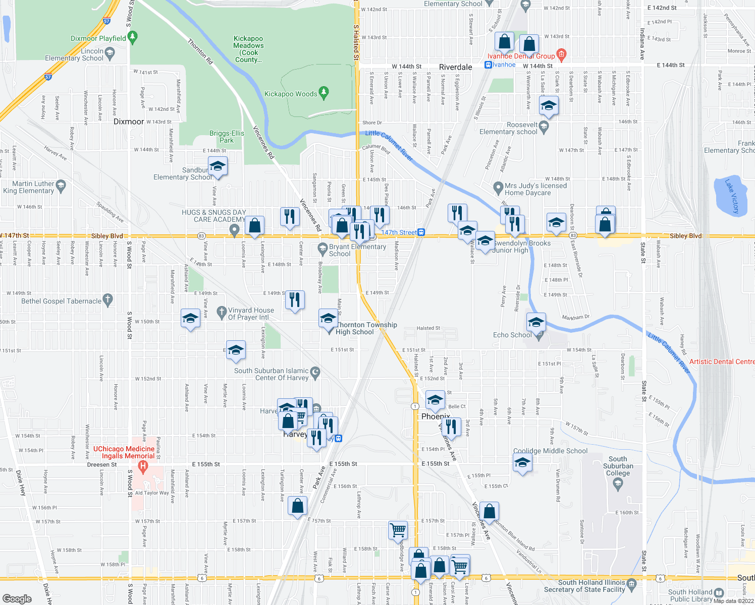 map of restaurants, bars, coffee shops, grocery stores, and more near 290 East 149th Street in Harvey