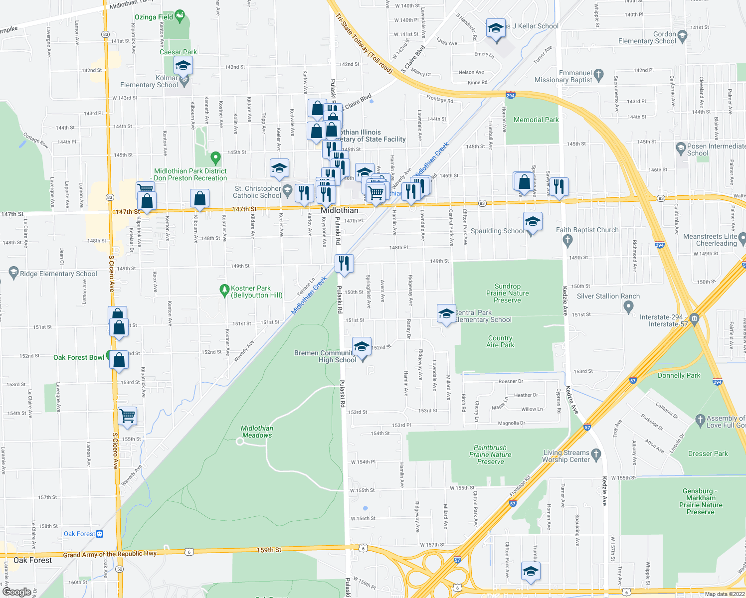 map of restaurants, bars, coffee shops, grocery stores, and more near 15013 Springfield Avenue in Midlothian