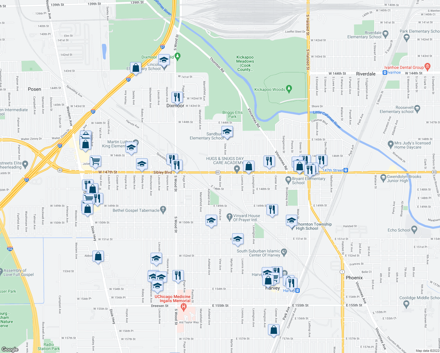 map of restaurants, bars, coffee shops, grocery stores, and more near 14700-14742 Vine Avenue in Harvey