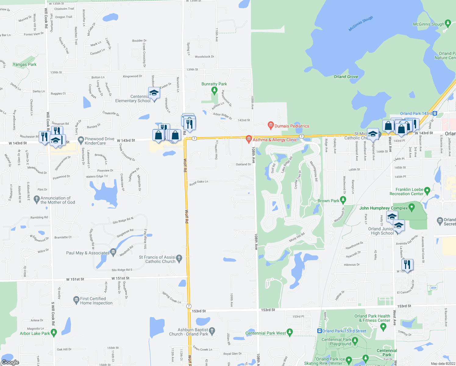 map of restaurants, bars, coffee shops, grocery stores, and more near 10931 Royal Oaks Lane in Orland Park