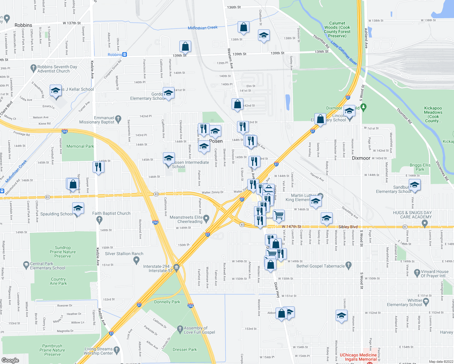 map of restaurants, bars, coffee shops, grocery stores, and more near 14621 Sherman Avenue in Posen