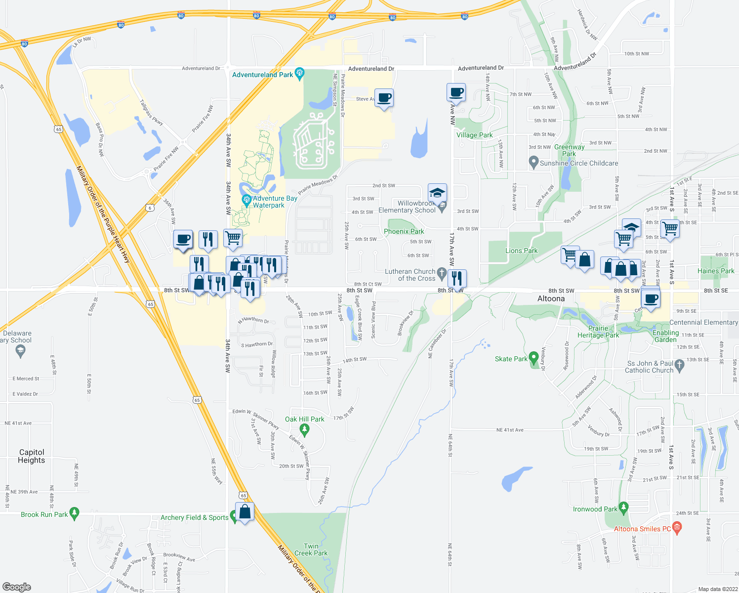 map of restaurants, bars, coffee shops, grocery stores, and more near 800 Scenic View Boulevard in Altoona
