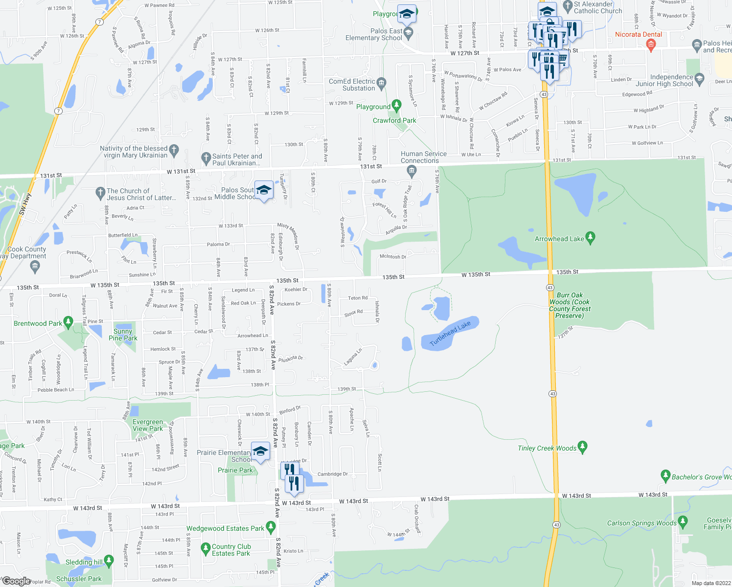 map of restaurants, bars, coffee shops, grocery stores, and more near 7830 Teton Road in Orland Park