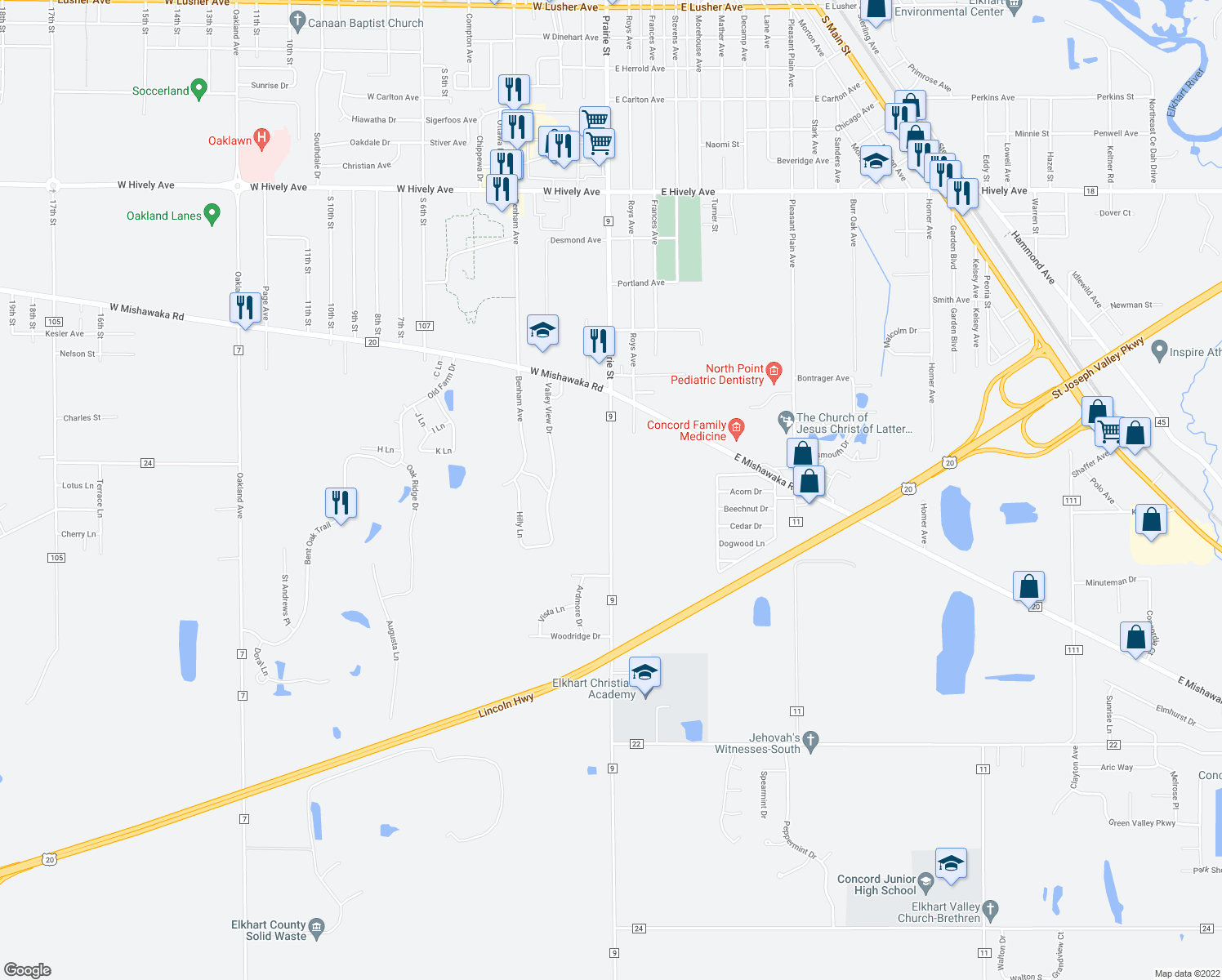 map of restaurants, bars, coffee shops, grocery stores, and more near County Road 9 in Elkhart