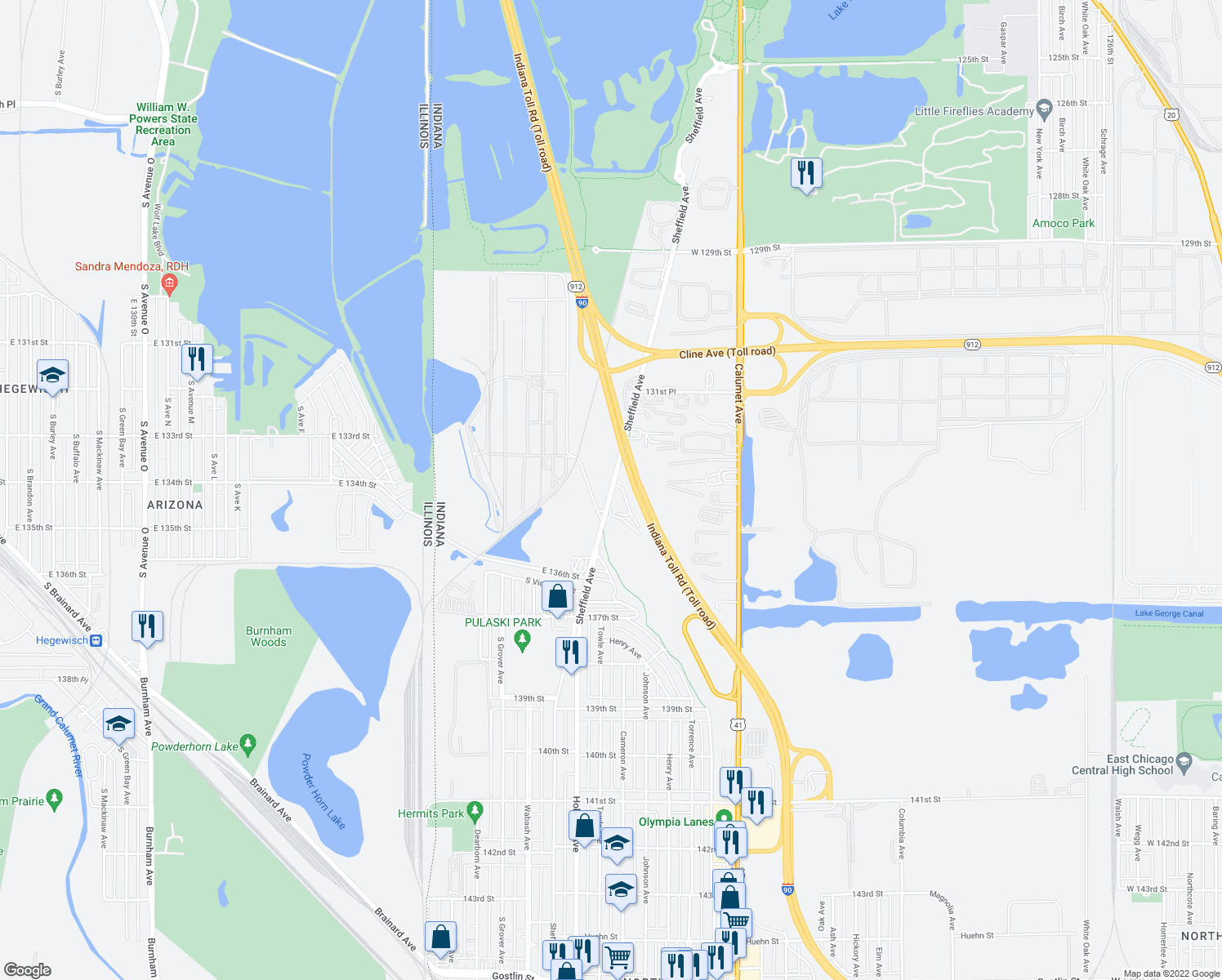 map of restaurants, bars, coffee shops, grocery stores, and more near 3338 Sheffield Avenue in Hammond