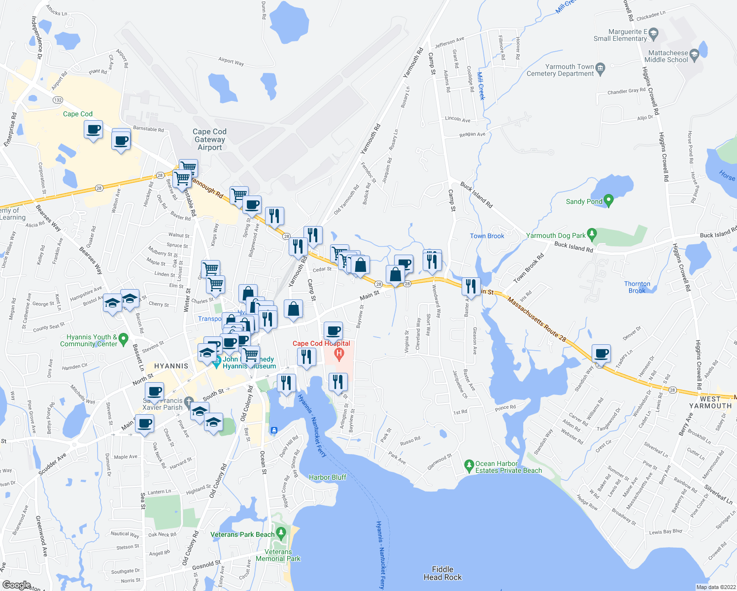 map of restaurants, bars, coffee shops, grocery stores, and more near Main Street in Barnstable County