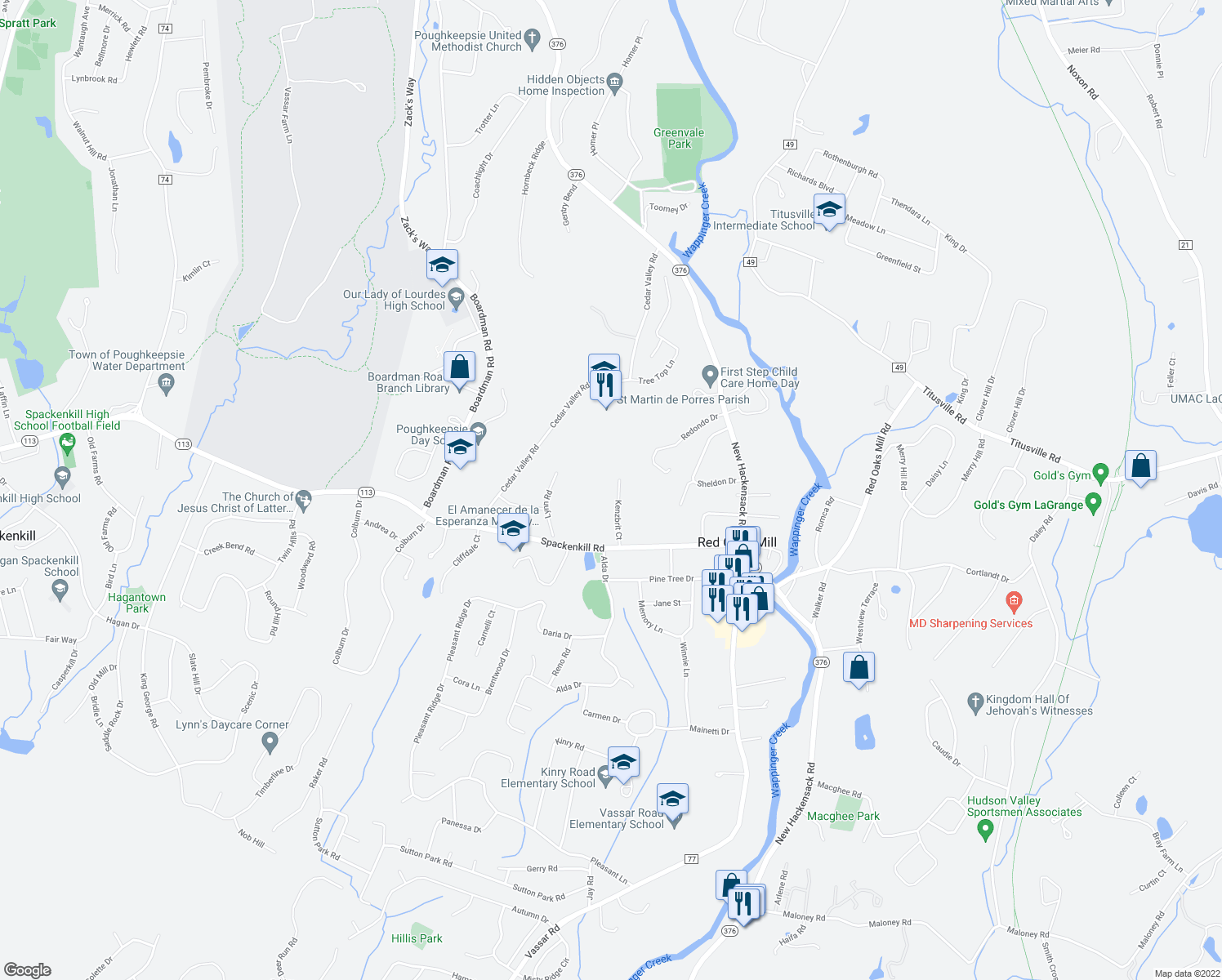 map of restaurants, bars, coffee shops, grocery stores, and more near 31 Kenzbrit Court in Poughkeepsie