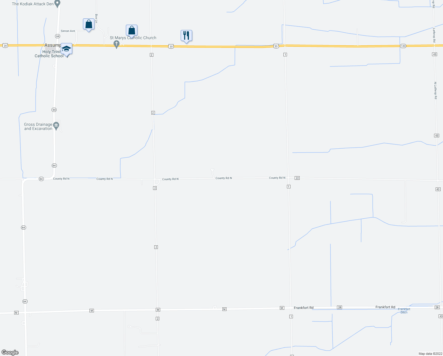 map of restaurants, bars, coffee shops, grocery stores, and more near 1520 County Road North in Swanton