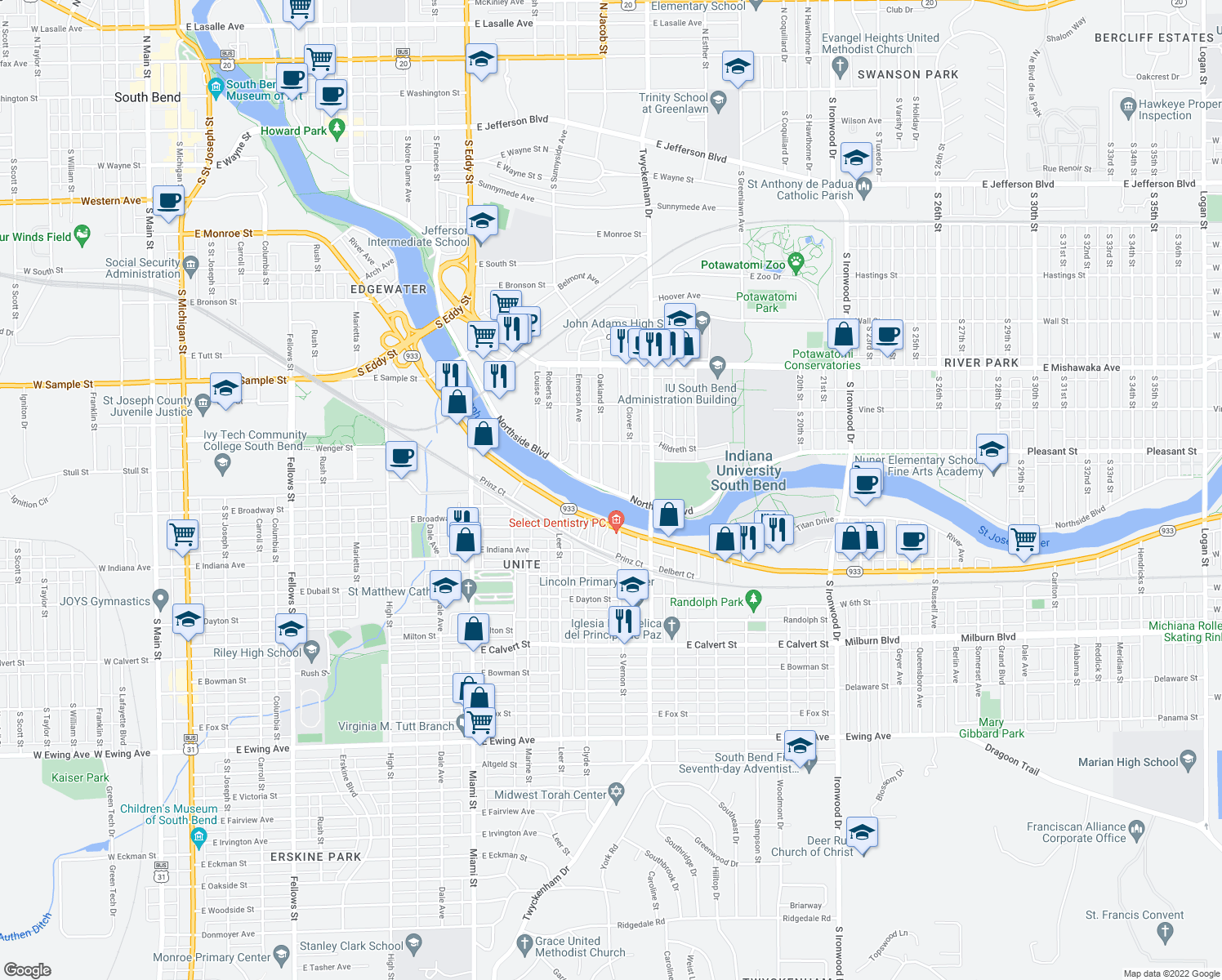 map of restaurants, bars, coffee shops, grocery stores, and more near 1411 Northside Boulevard in South Bend