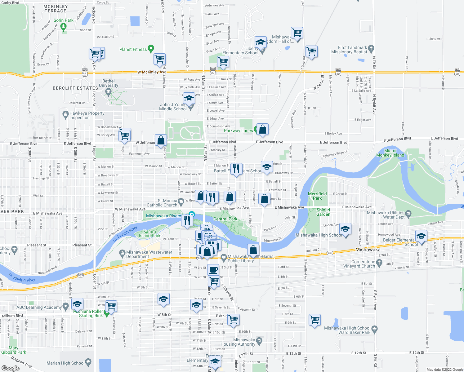 map of restaurants, bars, coffee shops, grocery stores, and more near 309 East Battell Street in Mishawaka
