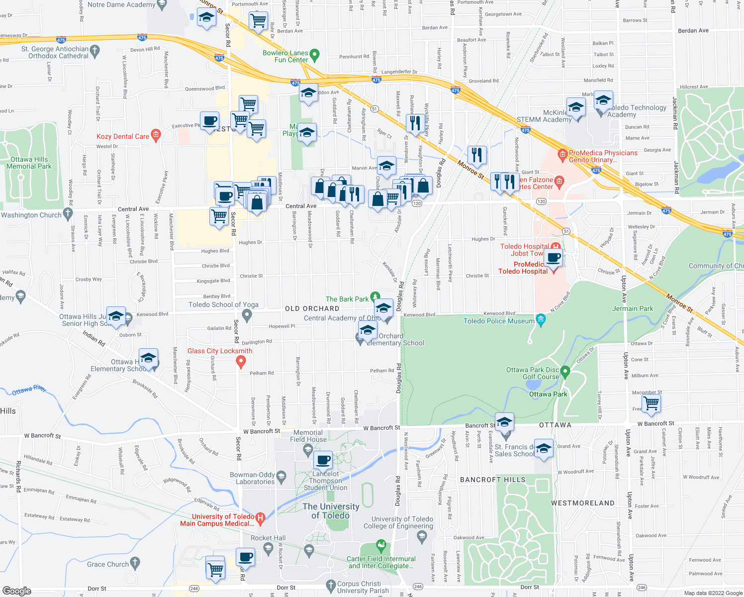 map of restaurants, bars, coffee shops, grocery stores, and more near 2630 Alisdale Drive in Toledo