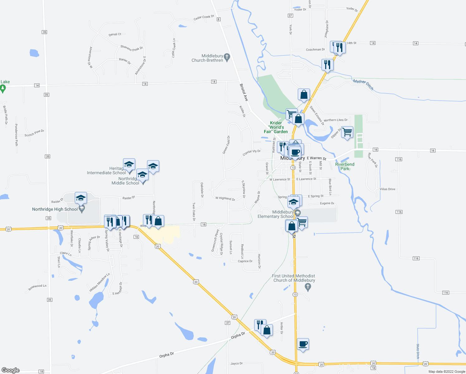 map of restaurants, bars, coffee shops, grocery stores, and more near 604 Woodbridge Court in Middlebury