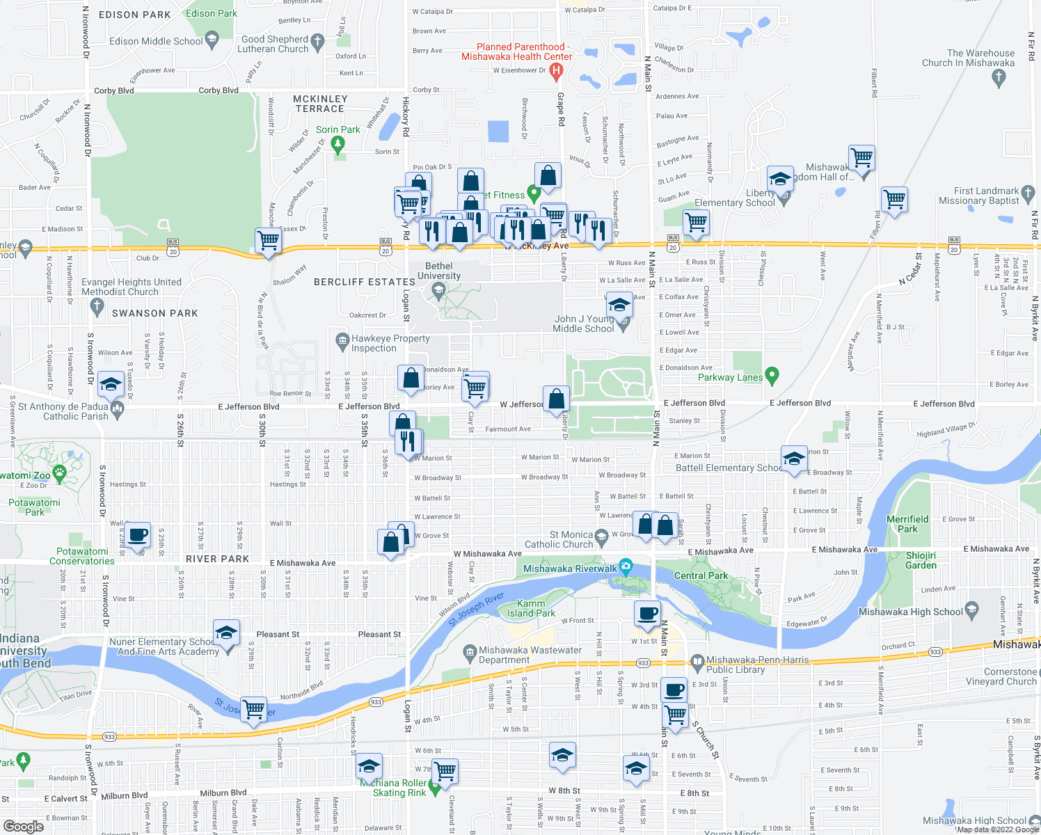 map of restaurants, bars, coffee shops, grocery stores, and more near 1314 Forest Avenue in Mishawaka
