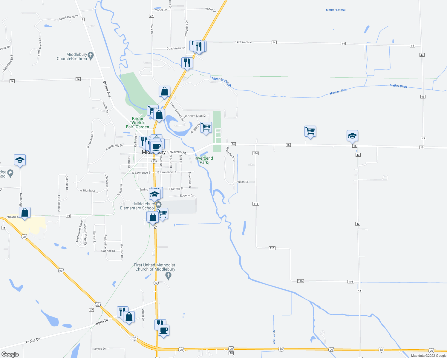 map of restaurants, bars, coffee shops, grocery stores, and more near 224 River Park Drive in Middlebury