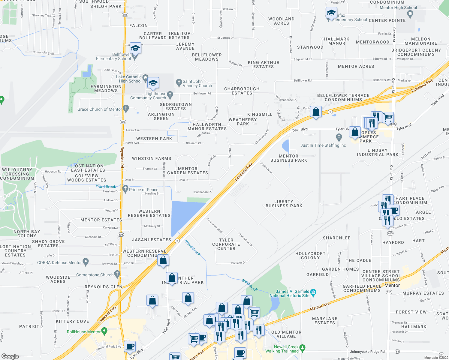 map of restaurants, bars, coffee shops, grocery stores, and more near 7720 Ohio St in Mentor