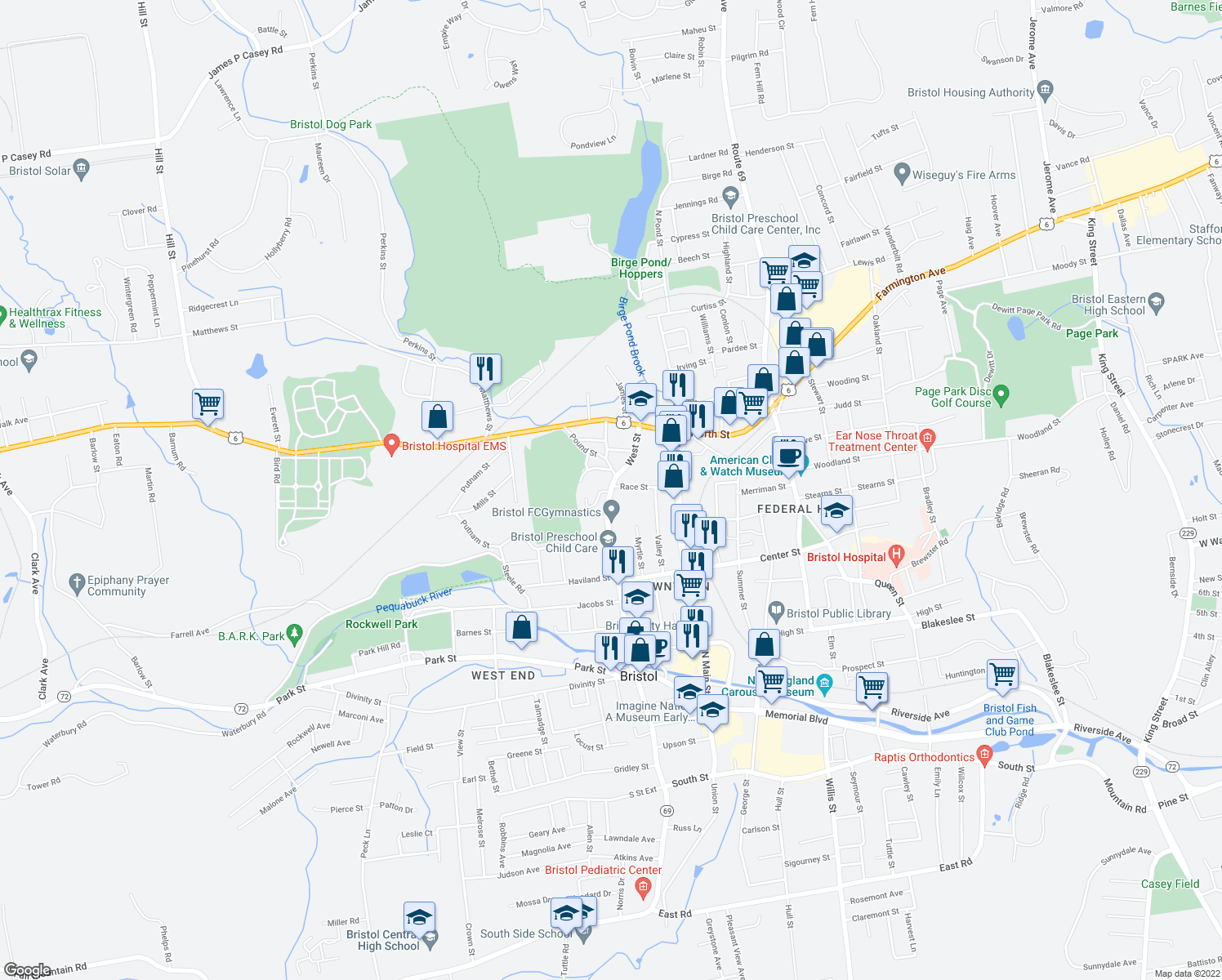 map of restaurants, bars, coffee shops, grocery stores, and more near 424 West Street in Bristol