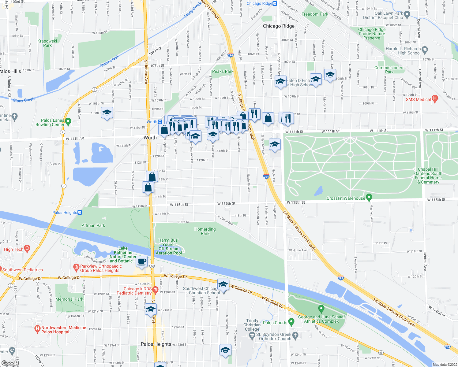 map of restaurants, bars, coffee shops, grocery stores, and more near 11350 South Normandy Avenue in Worth