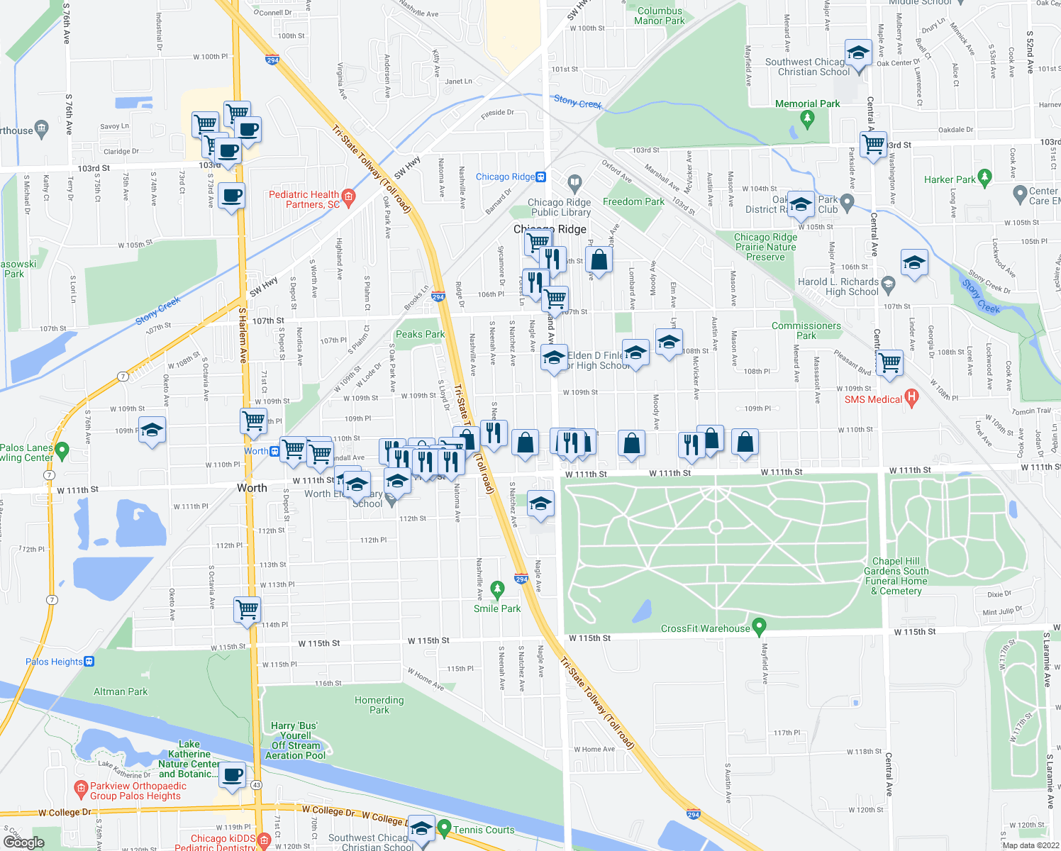 map of restaurants, bars, coffee shops, grocery stores, and more near 10950 Nagle Avenue in Worth