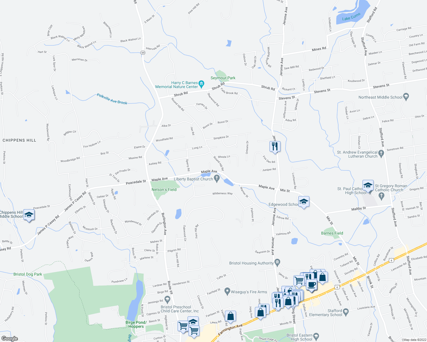 map of restaurants, bars, coffee shops, grocery stores, and more near Maple Avenue in Bristol