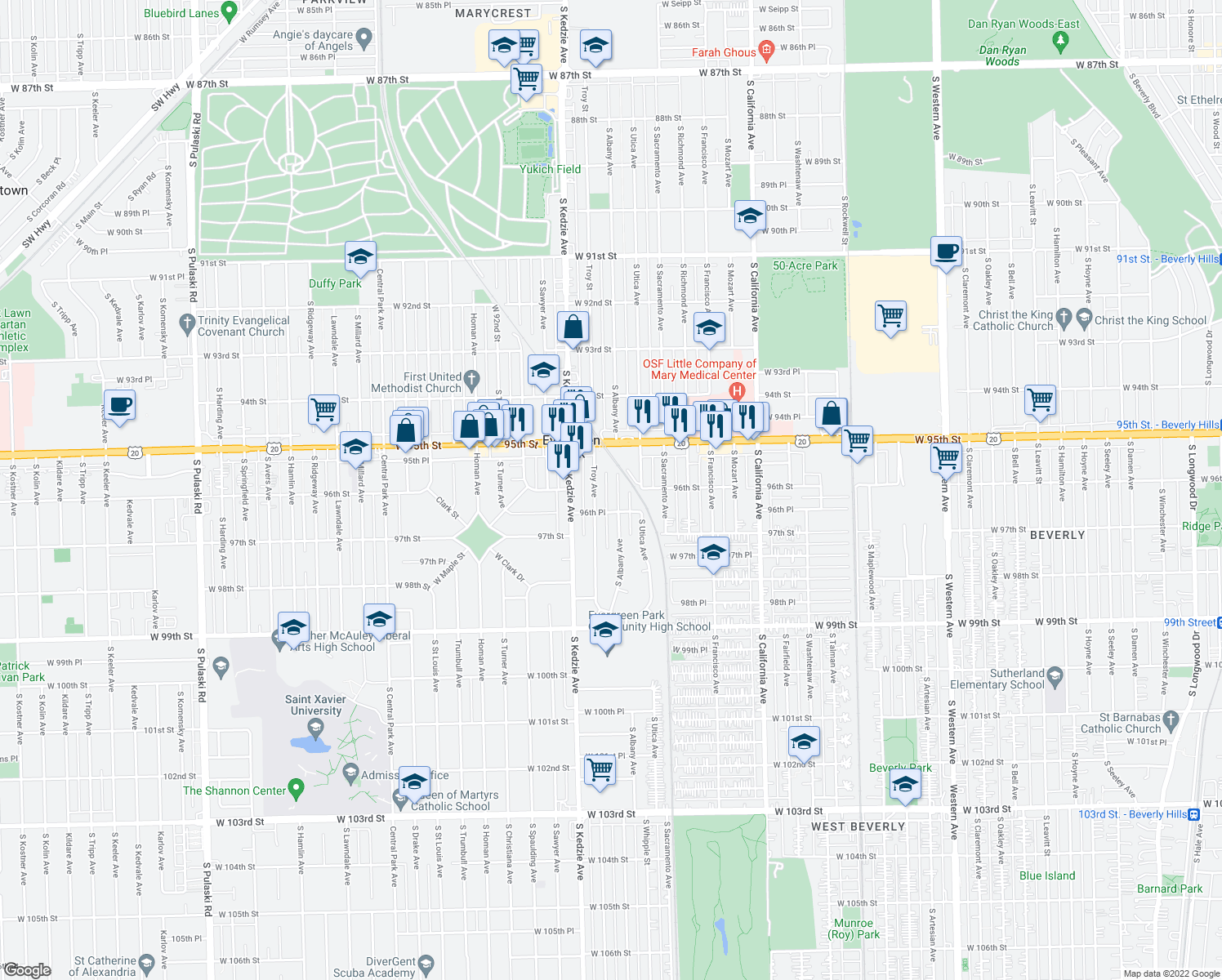 map of restaurants, bars, coffee shops, grocery stores, and more near 9547 South Albany Avenue in Evergreen Park