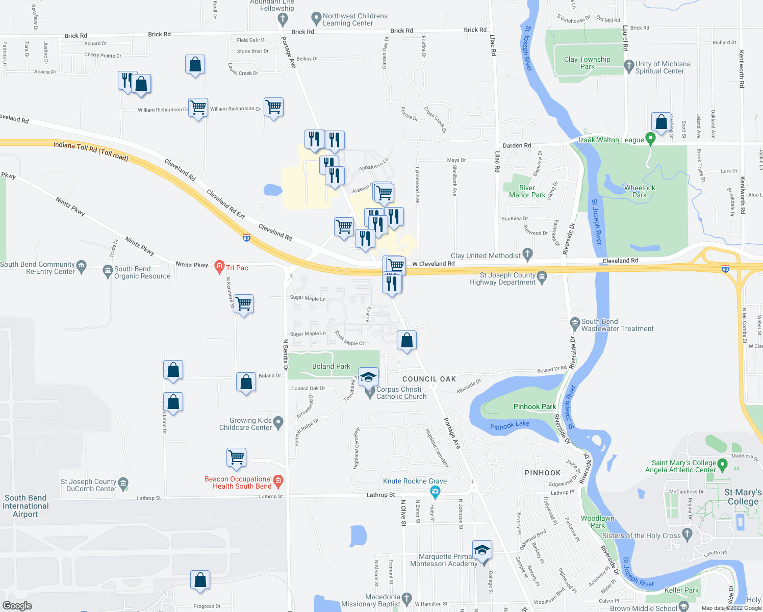 map of restaurants, bars, coffee shops, grocery stores, and more near Bow Court in South Bend