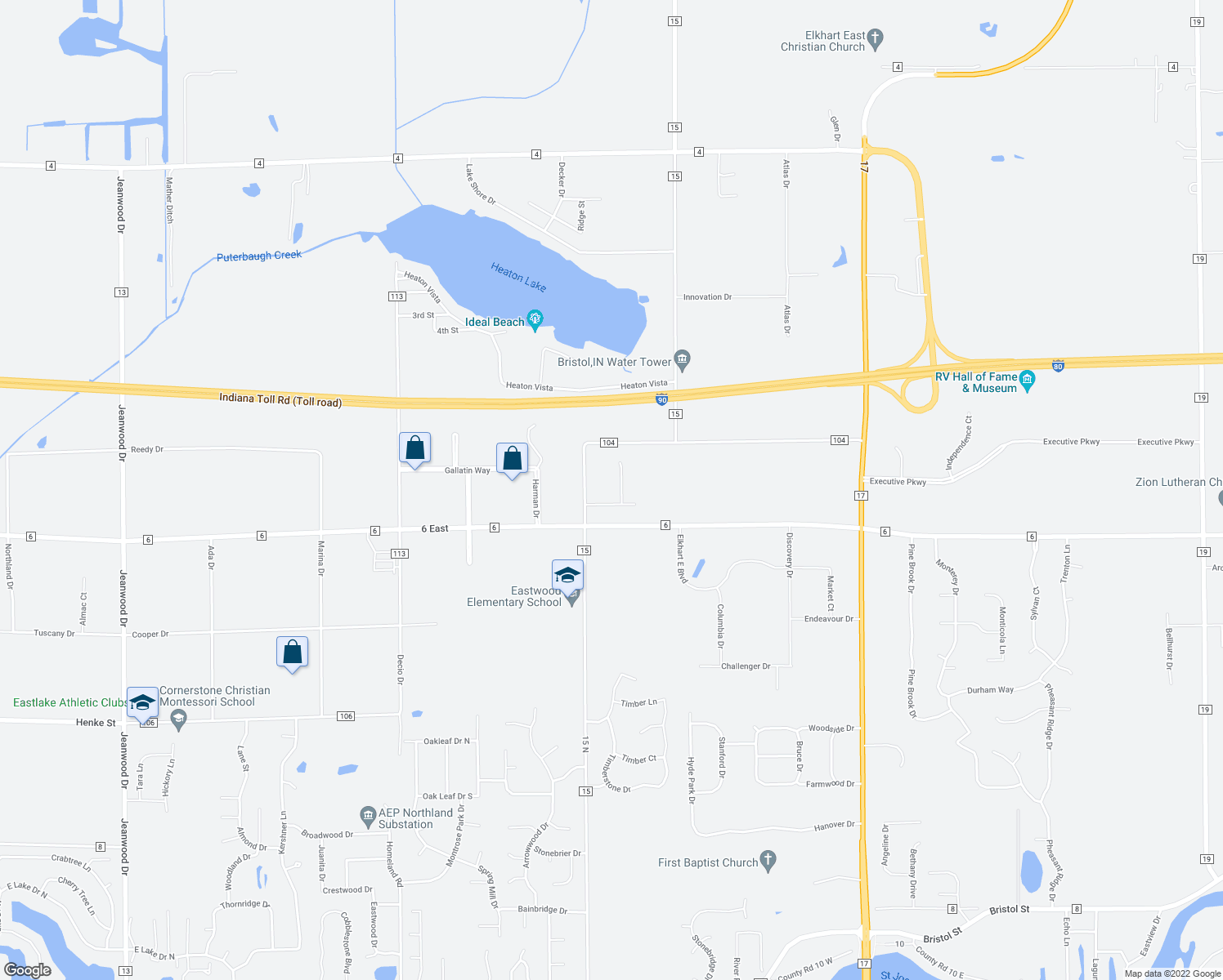 map of restaurants, bars, coffee shops, grocery stores, and more near 52905 Wildflower Lane in Elkhart
