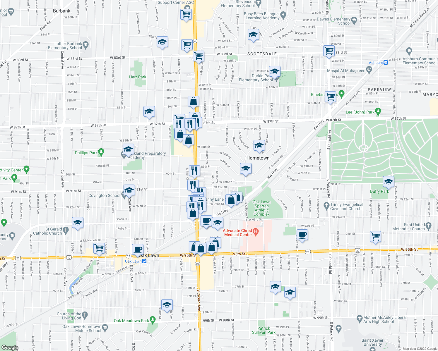 map of restaurants, bars, coffee shops, grocery stores, and more near 9021 South Knox Avenue in Hometown