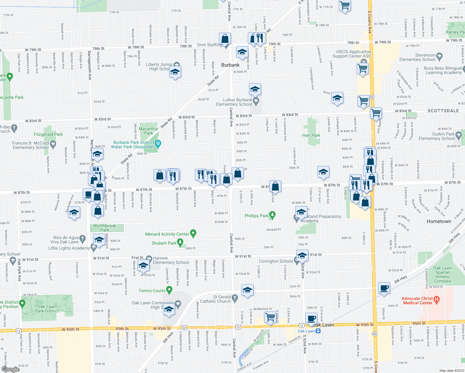 map of restaurants, bars, coffee shops, grocery stores, and more near W 87th St & Central Ave in Burbank