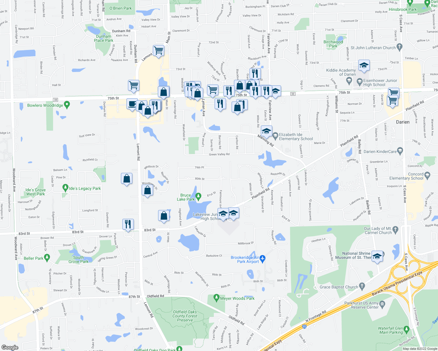 map of restaurants, bars, coffee shops, grocery stores, and more near 702 80th Street in Downers Grove
