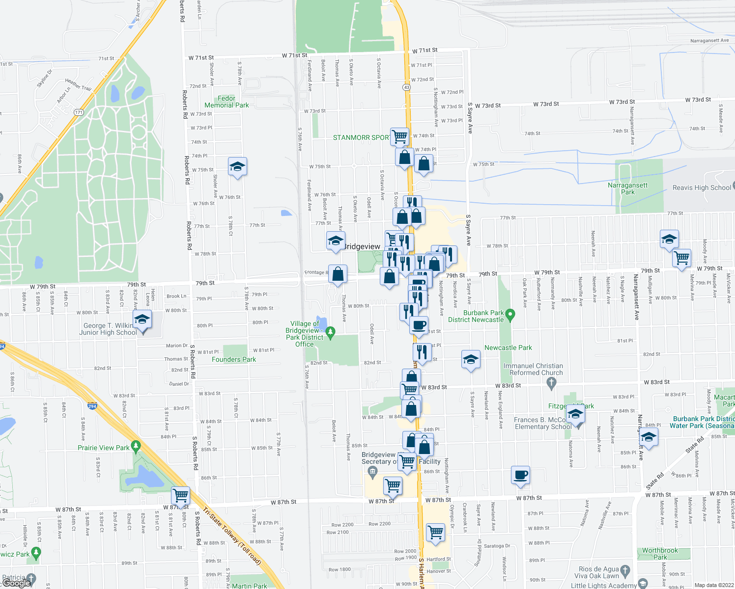 map of restaurants, bars, coffee shops, grocery stores, and more near 7347 79th Place in Bridgeview