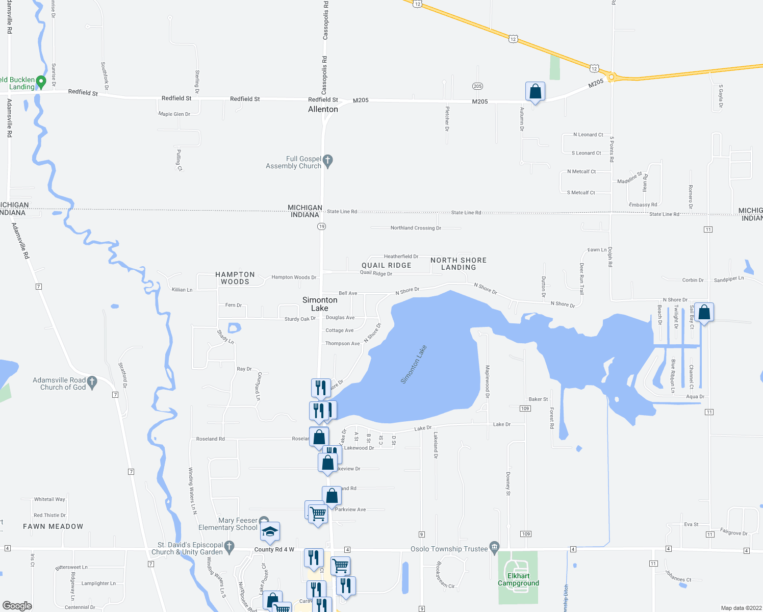 map of restaurants, bars, coffee shops, grocery stores, and more near 50908 Elkhart Road in Elkhart
