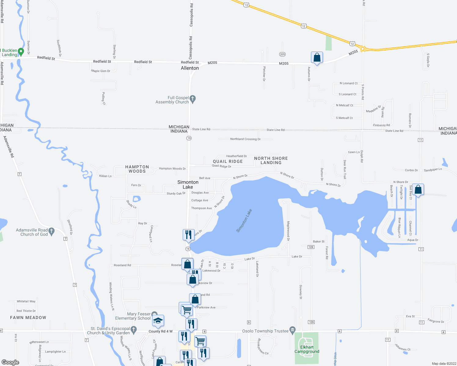 map of restaurants, bars, coffee shops, grocery stores, and more near 50892 North Shore Drive in Elkhart