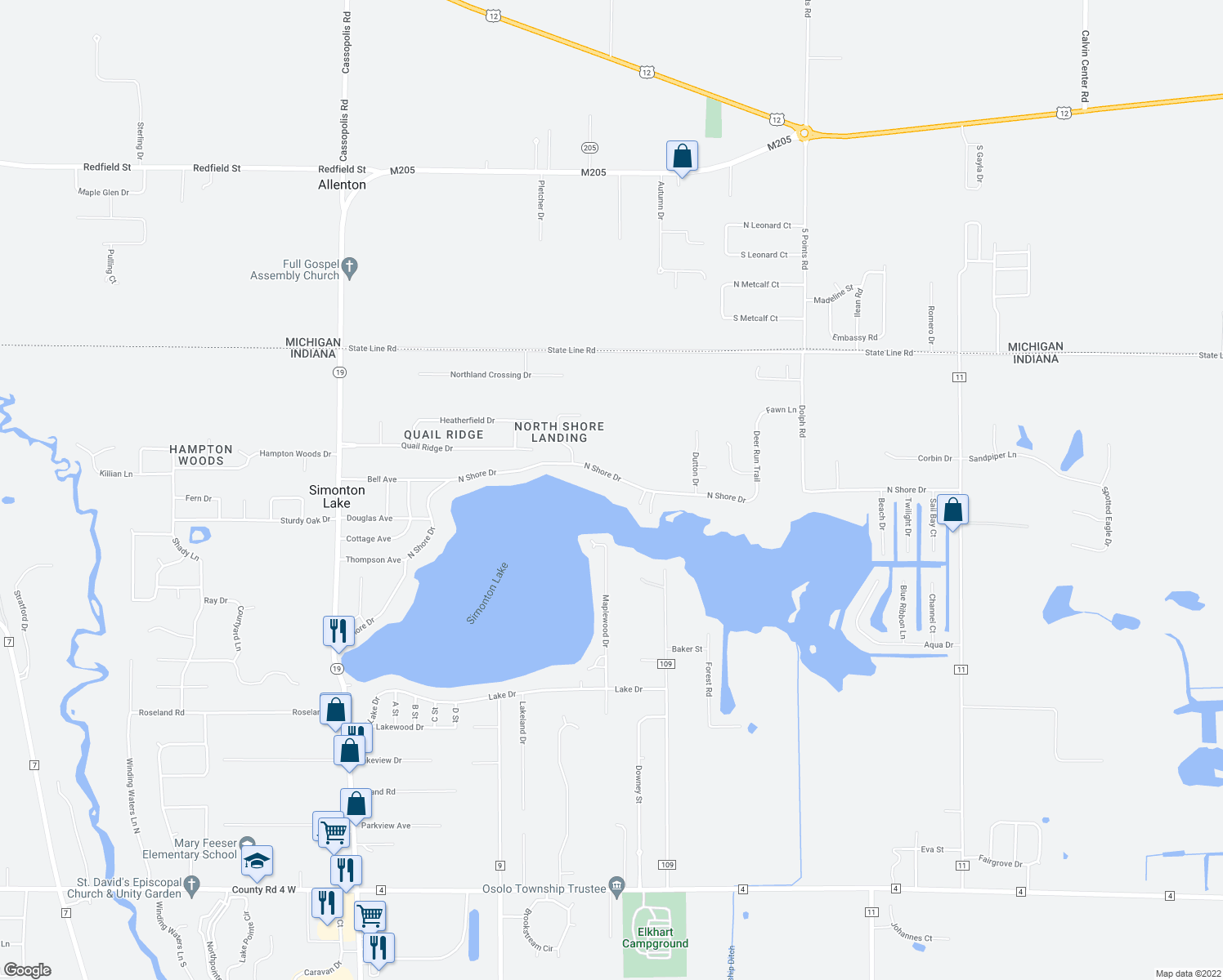 map of restaurants, bars, coffee shops, grocery stores, and more near 25682 North Shore Drive in Elkhart