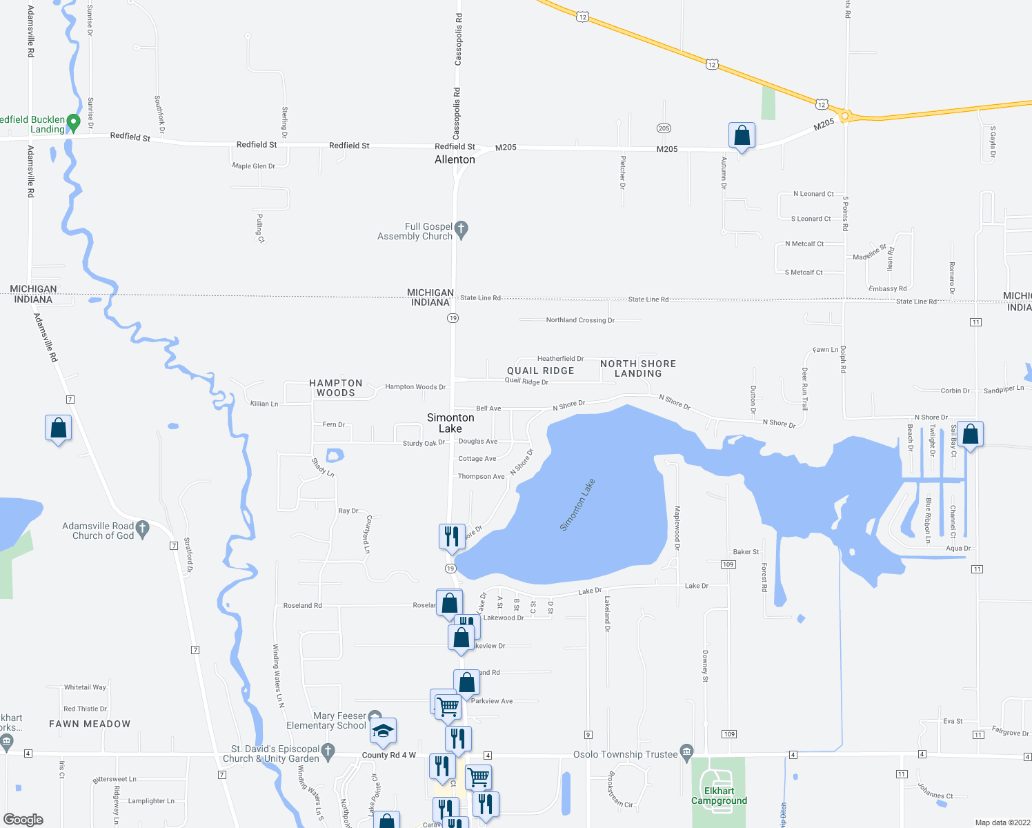 map of restaurants, bars, coffee shops, grocery stores, and more near 50894 Cottage Avenue in Elkhart