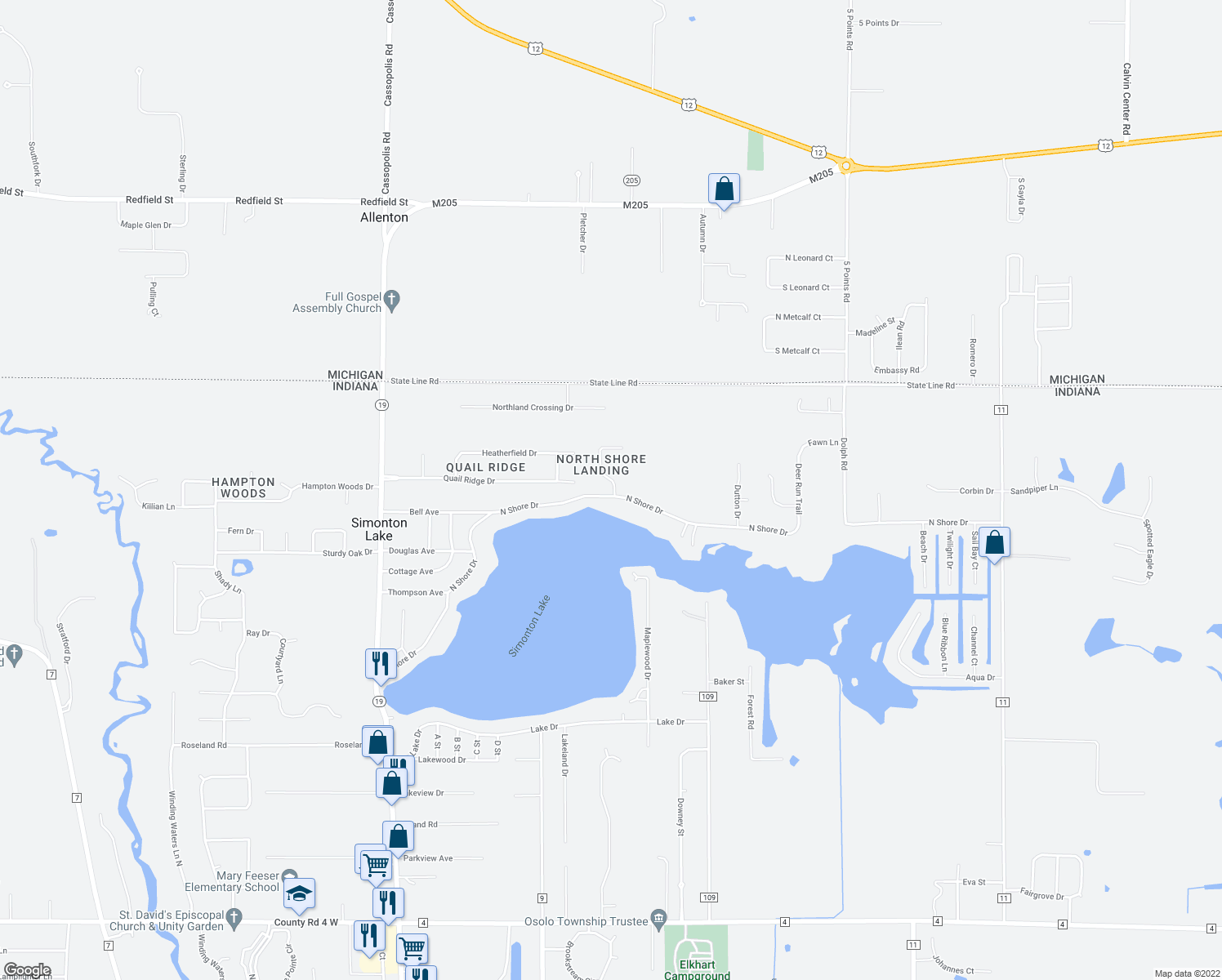 map of restaurants, bars, coffee shops, grocery stores, and more near 50213 Linnwood Dr in Elkhart