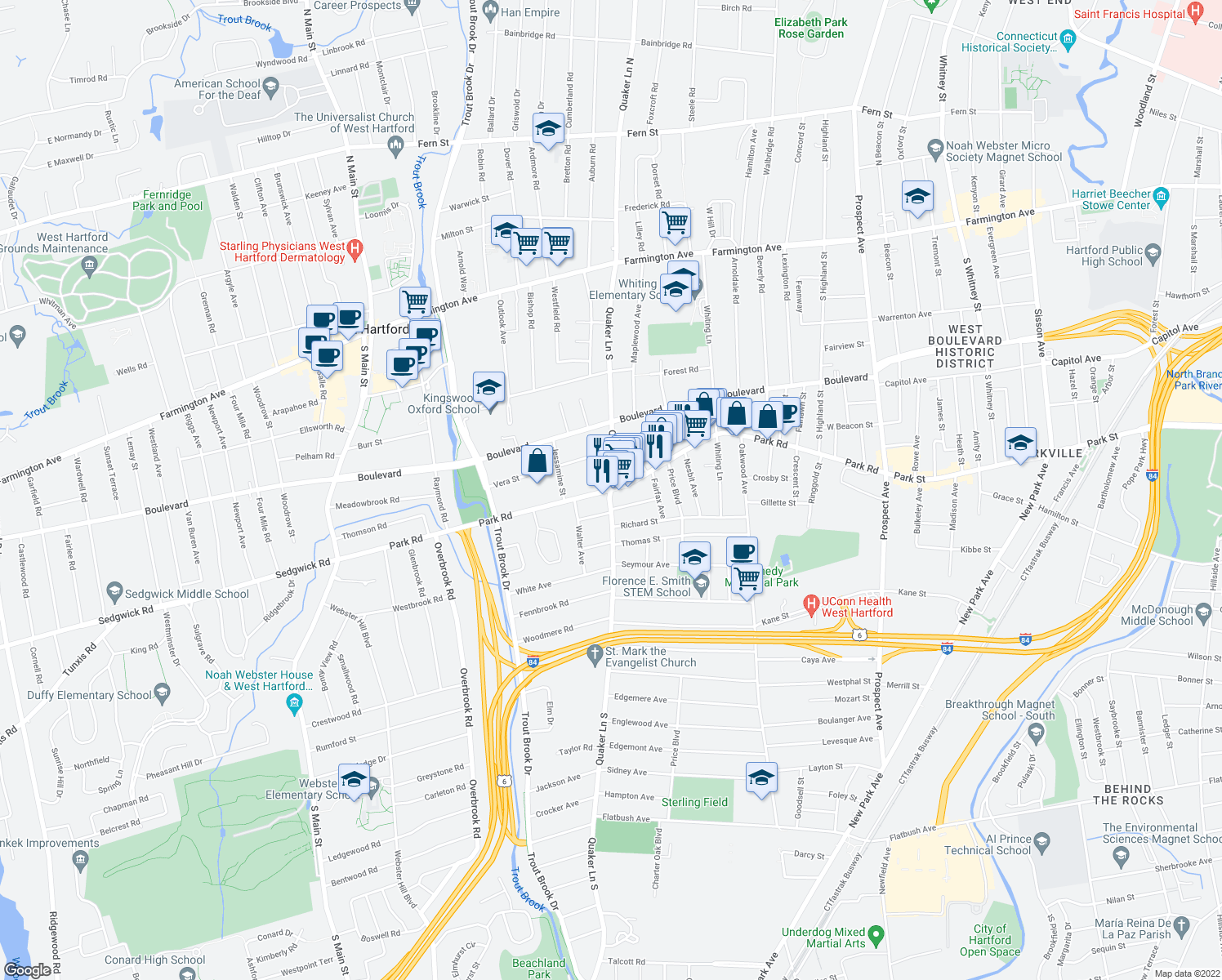 map of restaurants, bars, coffee shops, grocery stores, and more near Quaker Lane South & Park Road in West Hartford