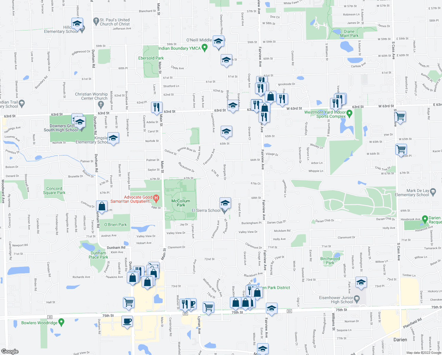 map of restaurants, bars, coffee shops, grocery stores, and more near 615 67th Street in Downers Grove