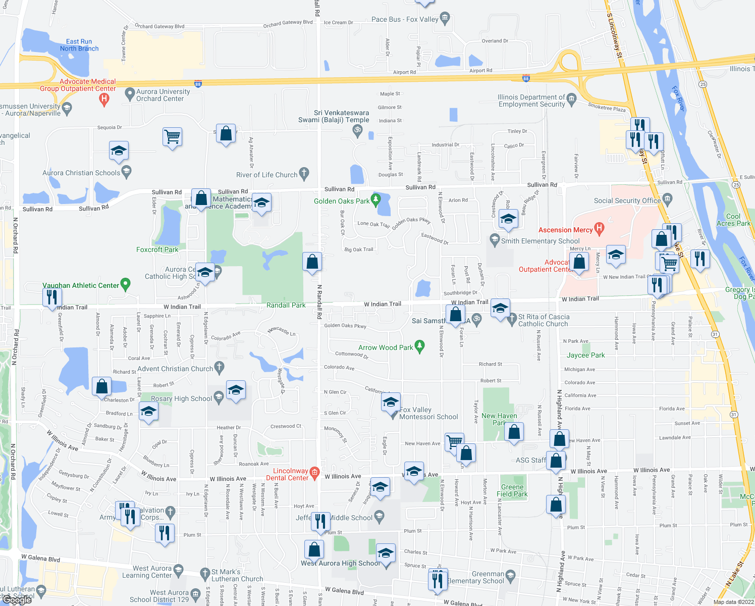 map of restaurants, bars, coffee shops, grocery stores, and more near 1270 West Indian Trail in Aurora