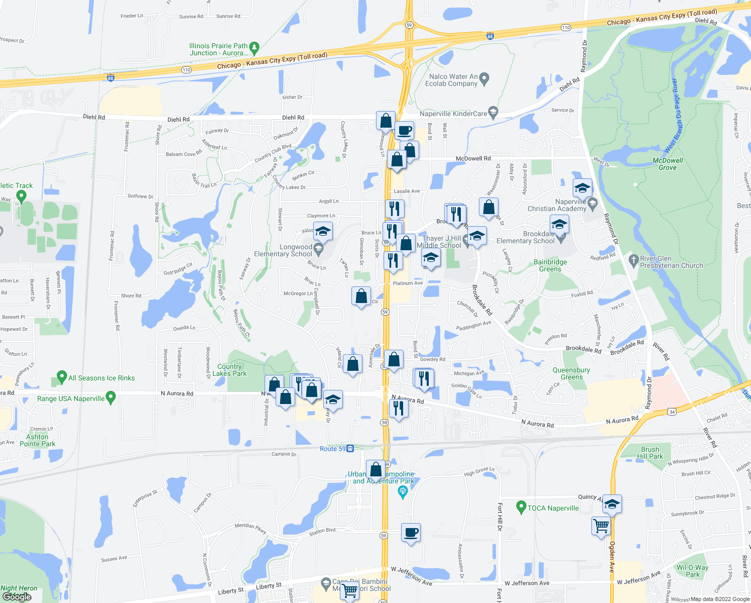 map of restaurants, bars, coffee shops, grocery stores, and more near Vista Circle in Naperville