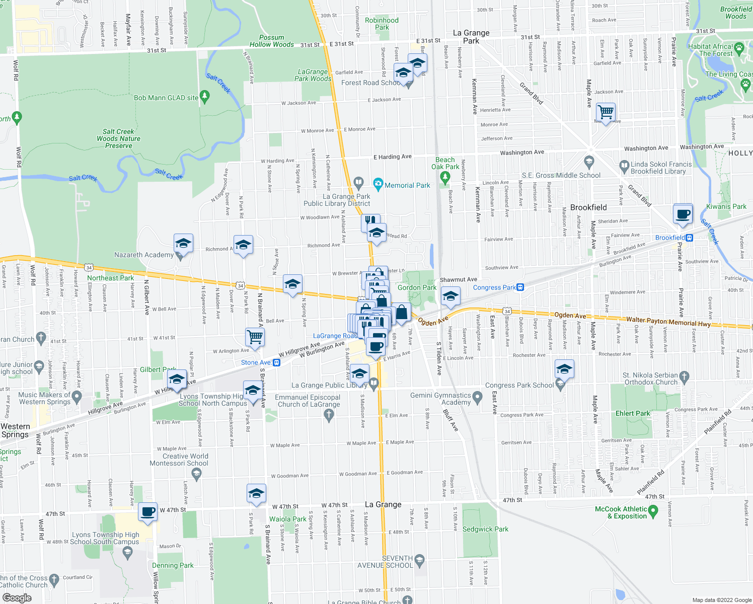 map of restaurants, bars, coffee shops, grocery stores, and more near 576-598 North Madison Street in Hinsdale