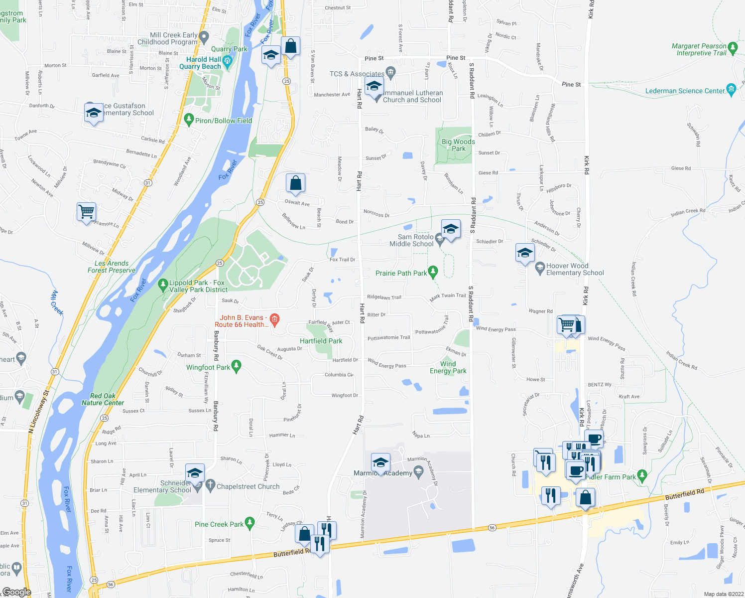 map of restaurants, bars, coffee shops, grocery stores, and more near 516 Ridgelawn Trail in Batavia