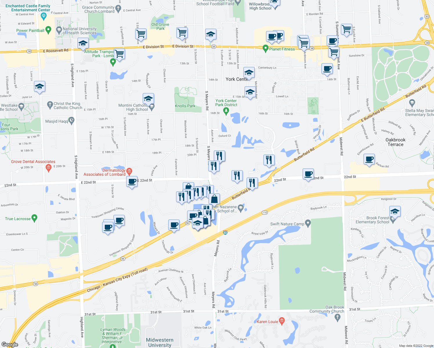 map of restaurants, bars, coffee shops, grocery stores, and more near 2003 South Meyers Road in Oakbrook Terrace