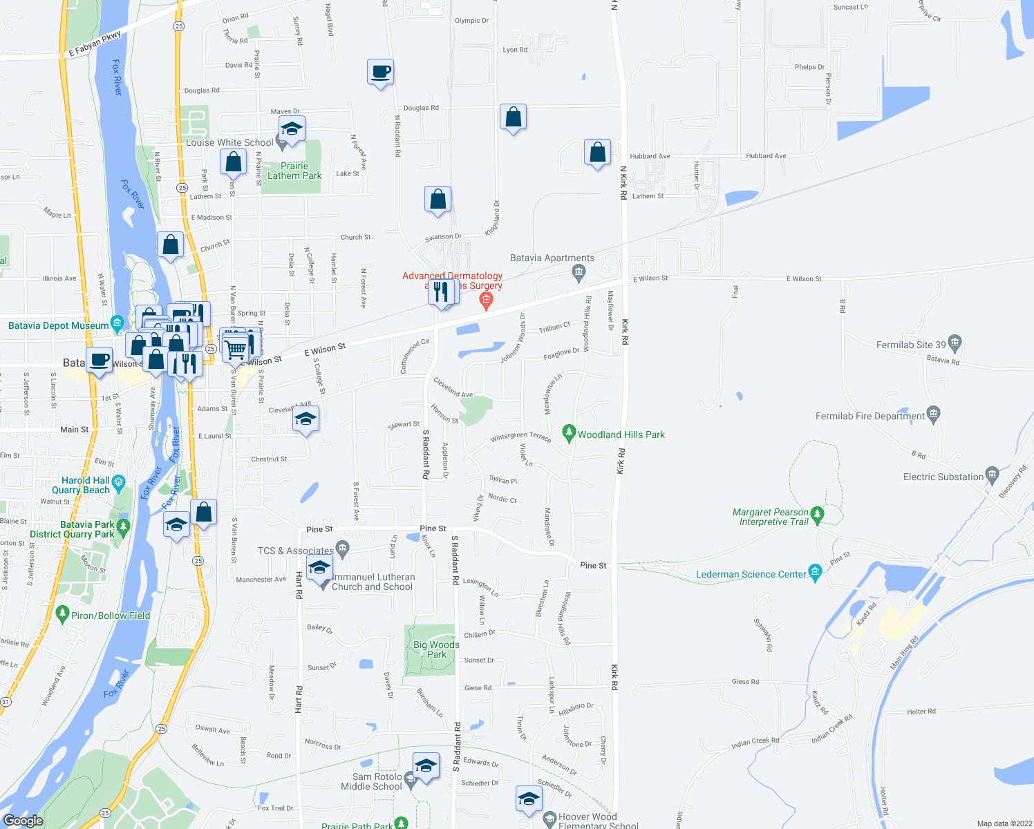 map of restaurants, bars, coffee shops, grocery stores, and more near 1171 Miller Court in Batavia