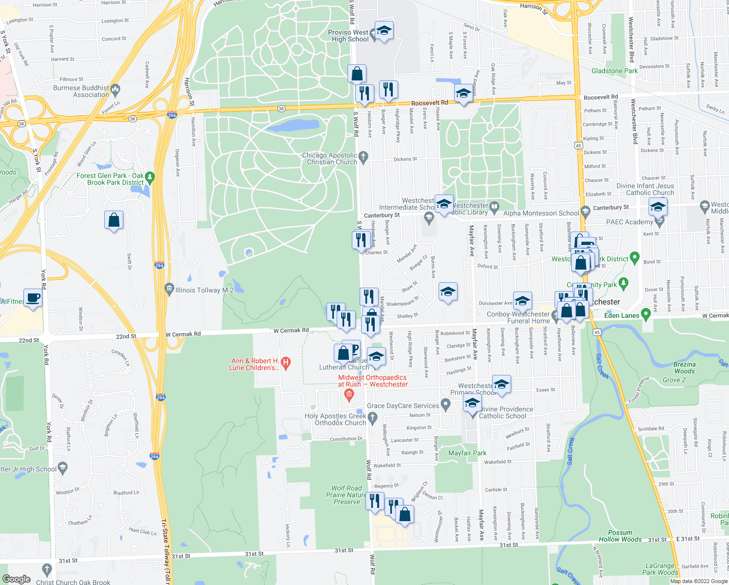 map of restaurants, bars, coffee shops, grocery stores, and more near 1730-2100 South Wolf Road in Hillside
