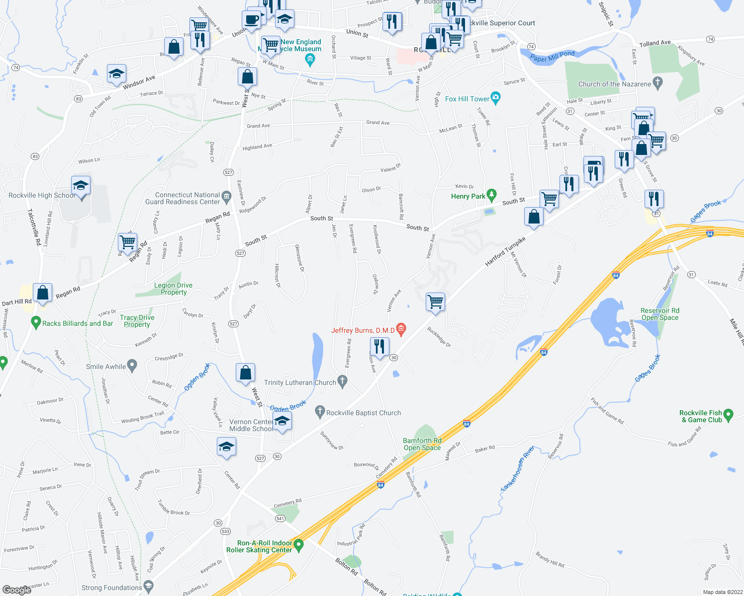 map of restaurants, bars, coffee shops, grocery stores, and more near 20 Oxbow Drive in Vernon