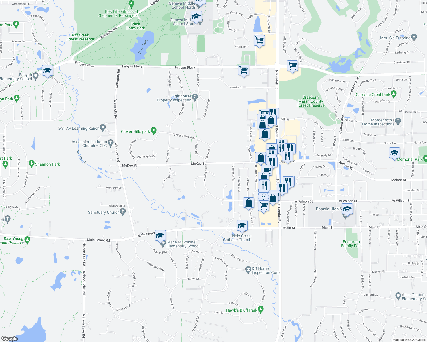 map of restaurants, bars, coffee shops, grocery stores, and more near 2721 Sperry Court in Batavia